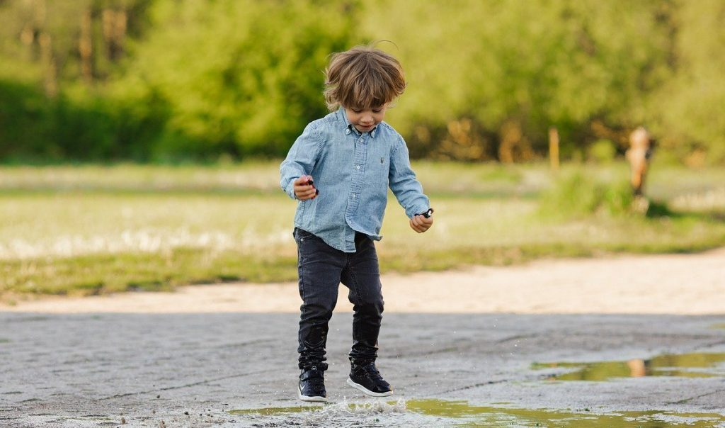 child, puddle, water